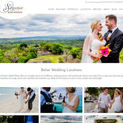 Belize website design - weddings