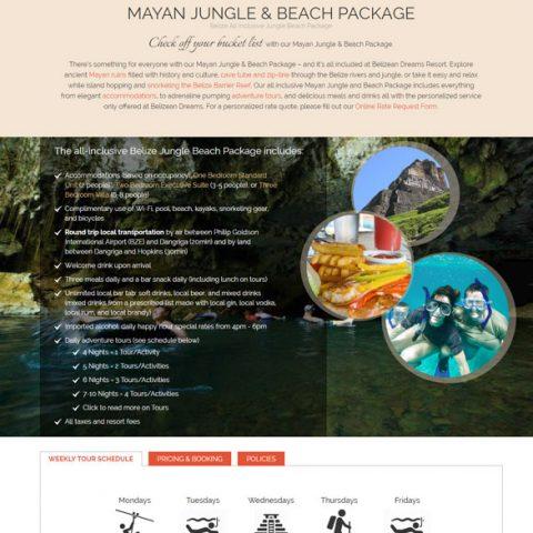 Belize website design - Belizean Dreams