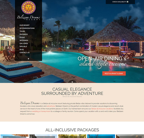 Belize website design - Belizean Dreams