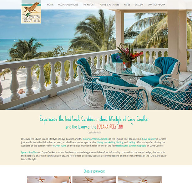 Belize website design - Iguana Reef Inn