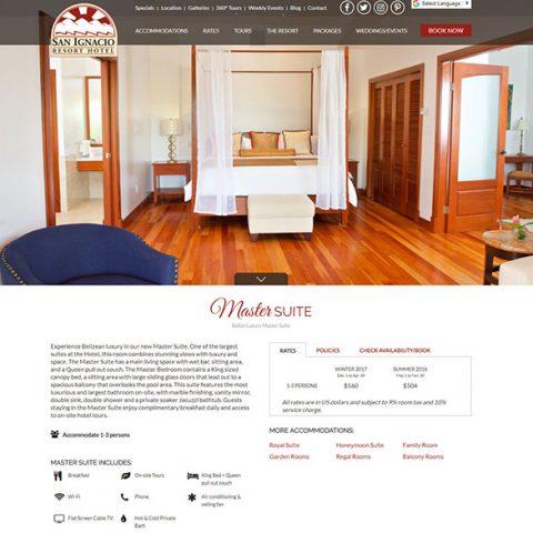 Belize website design - San Ignacio Resort Hotel