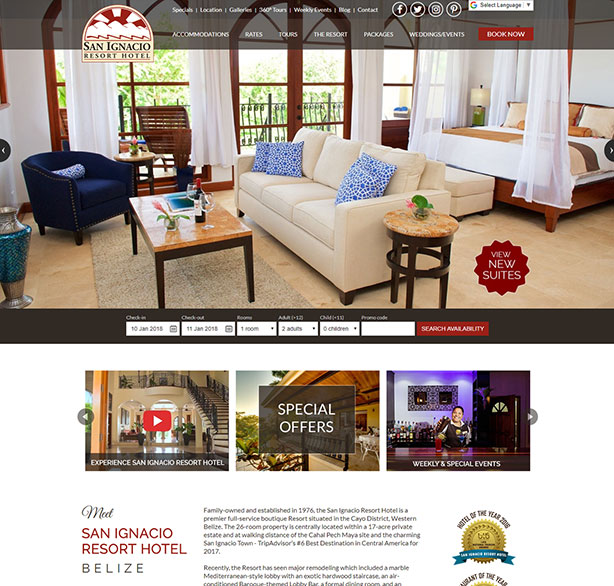 Belize website design - San Ignacio Resort Hotel